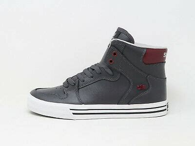 SUPRA Men Shoes Vaider Charcoal Gray White Maroon | eBay