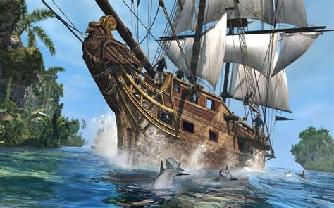 Pirate ship accompanied by dolphins HD wallpaper
