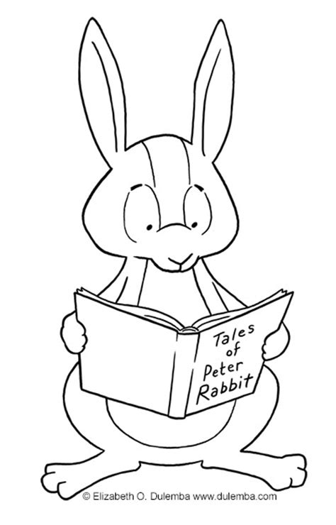dulemba: Coloring Page Tuesdays - Rabbit Reading