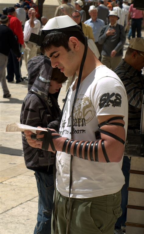 File:Tefillin worn by a man at the Western Wall in