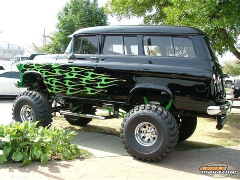 Tri-Five Chevy suburban on a lifted 4x4 frame, 1955 1956
