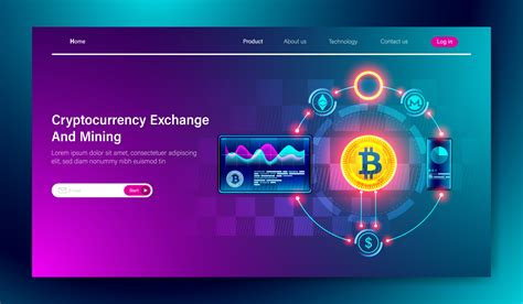 Modern flat design of Cryptocurrency Exchange and bitcoin