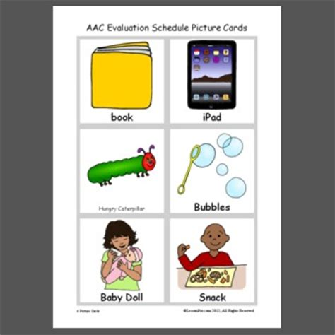 AAC Evaluation Schedule Picture Cards