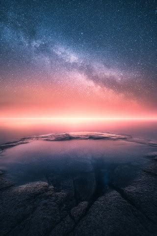 Wallpaper Horizon, Sunset, Starry sky, Collision