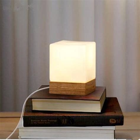 Modern Table Lamp Wood Base And White Square Glass Lamp
